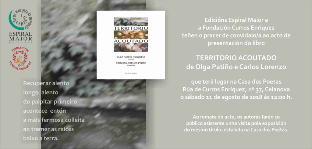 """Presentación do libro """"Territorio acoutado"""" de Olga Patiño e Carlos Lorenzo o 11 agosto"""
