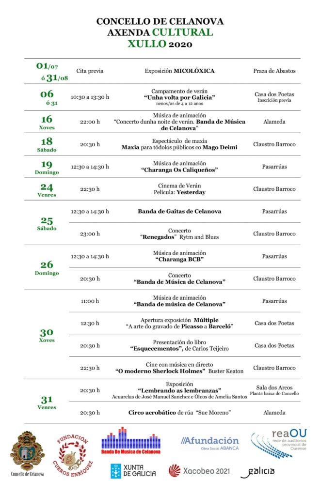 Axenda cultural mes de xullo de 2020 no Concello de Celanova